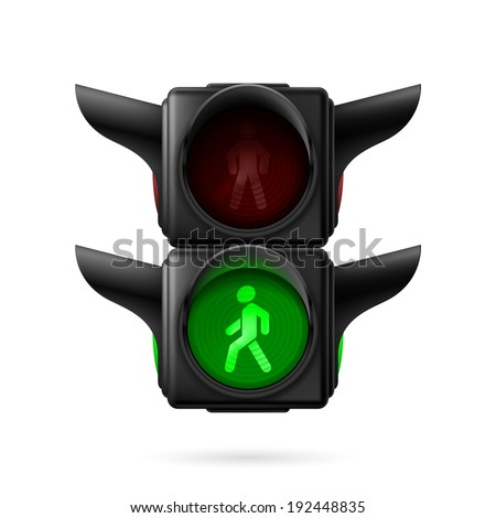 Realistic pedestrian traffic lights with green light on. Illustration on white background