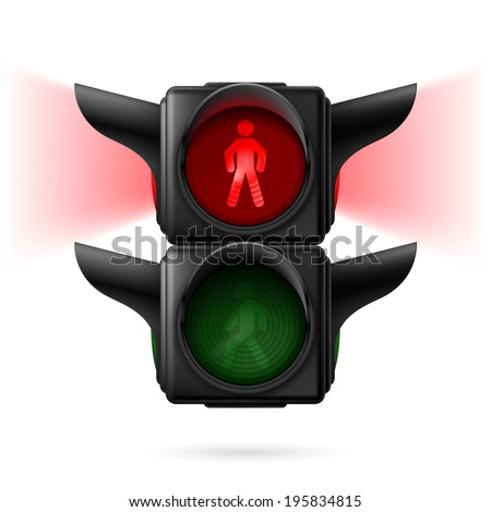 Realistic pedestrian traffic lights with red lamp on and sidelight.