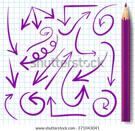Realistic pencil  and set of hand drawn arrows. VECTOR. Purple arrows