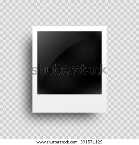 Realistic photo frame on transparent grid background, isolated. Image frame. Picture camera decoration.  - stock vector