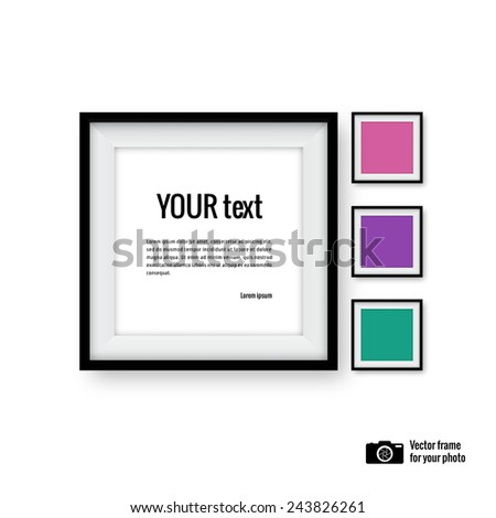 Realistic photo frame. Vector illustration - stock vector