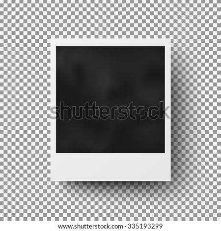 Realistic photo frame with shadow on plaid background - stock vector
