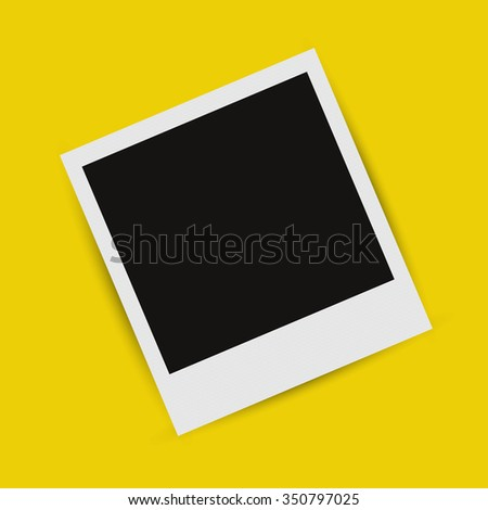 Realistic picture frame on a  yellow background with shadow - stock vector