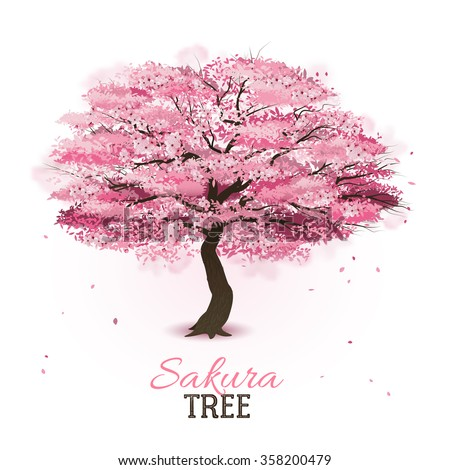 Realistic pink blossoming spring japanese sakura cherry tree vector illustration - stock vector