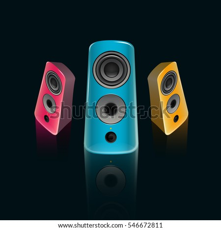 music speakers clipart. realistic pink, blue and orange music speakers in the front isometric view on clipart