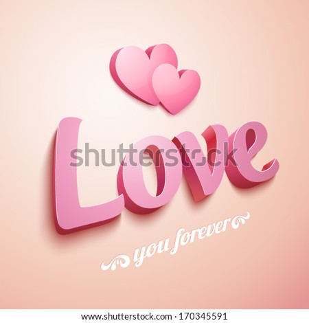 Realistic pink Love sign with hearts - stock vector