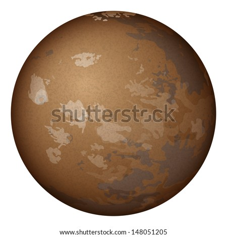 Realistic planet Mars isolated on white background.  - stock vector