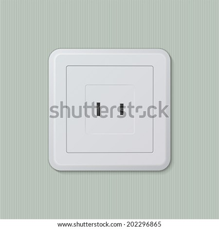 Realistic plastic white electric socket type A (american, japanese). Vector illustration, easy editable.