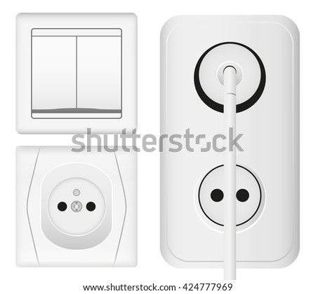 Realistic power socket, cable with plug and light switch. Vector illustration in 3d realistic style. Isolated object. - stock vector