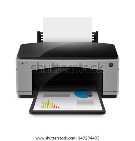 Realistic printer. Illustration on white background for design - stock vector