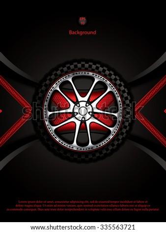 Realistic racing car wheel with shining rim.Vector illustration  - stock vector