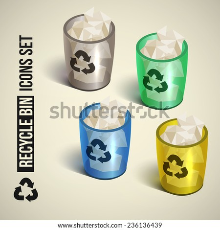 realistic recycle bin icon. Vector illustration.   - stock vector