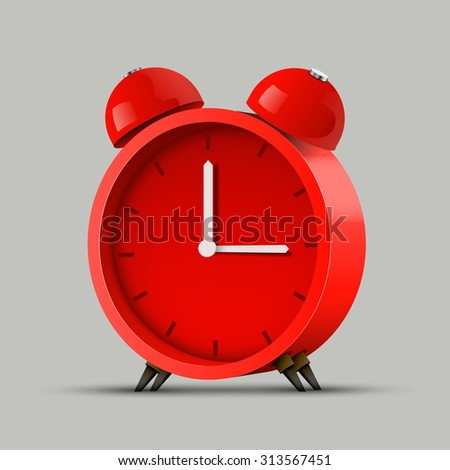 Realistic red alarm clock. Clean vector background.