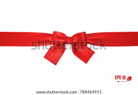 Realistic red bow and ribbon. Element for decoration gifts, greetings, holidays. Vector illustration.