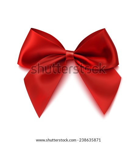Realistic red bow isolated on white background. Ribbon. Vector illustration - stock vector