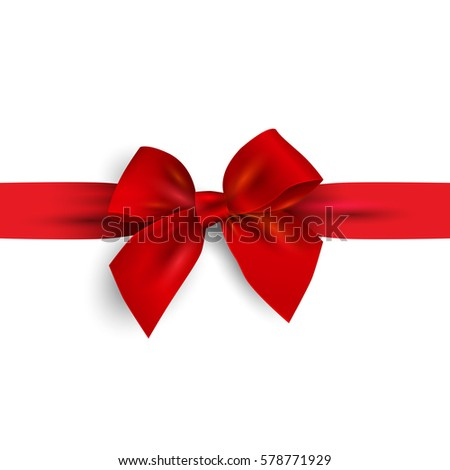 Realistic Red bow with ribbon isolated on white. Design element for decoration gifts, greetings, holidays. Vector illustration.