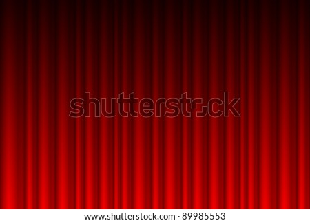 Realistic red curtain. Illustration for design - stock vector