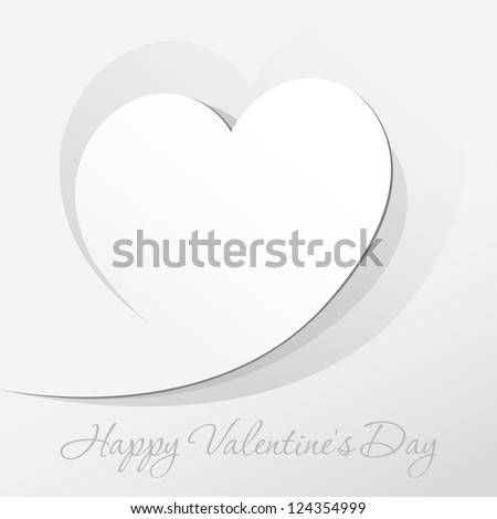 Realistic Red Heart cut out of paper. Valentine's day or Wedding vector background - stock vector