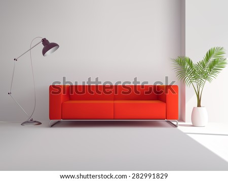 Realistic red sofa with floor lamp and palm tree in pot interior vector illustration - stock vector