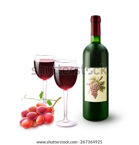 Realistic red wine bottle glasses and grape branch set vector illustration - stock vector
