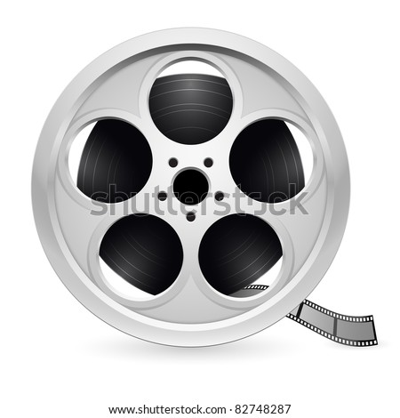 Realistic reel of film. Illustration on white background - stock vector