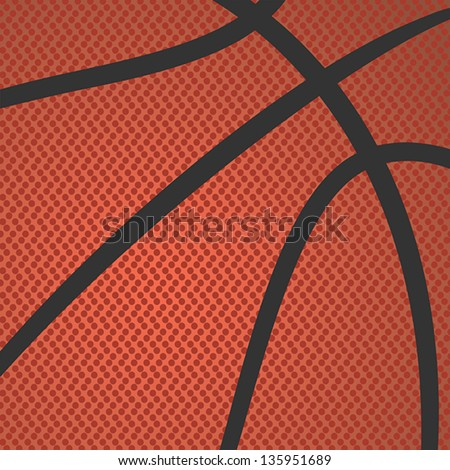realistic rendition, illustration of basketball skin texture. - stock vector