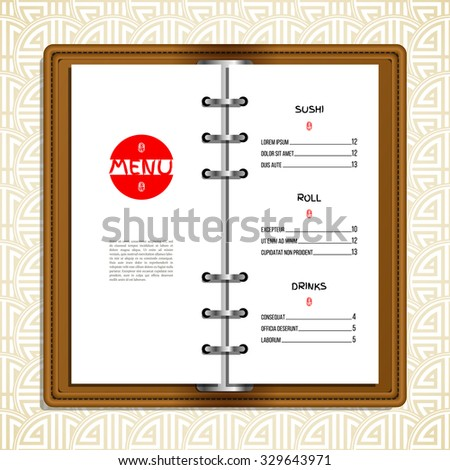 Realistic restaurant menu. Leather cover binder. Oriental pattern background. Stamp with hieroglyph for 'Joy'. Typographic template for Your text. Vector illustration for business design. - stock vector