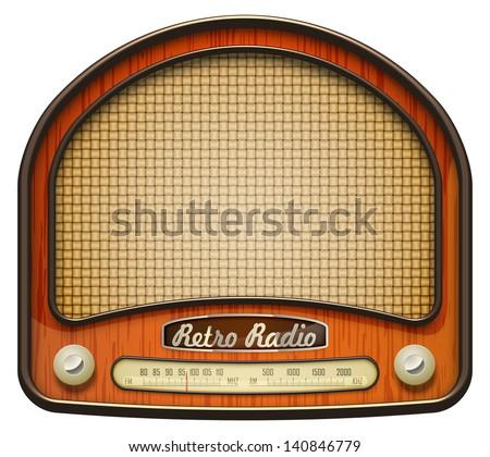 Realistic retro radio, isolated on white. EPS10 vector. - stock vector