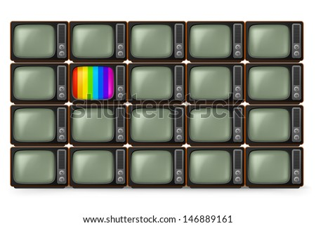 Realistic retro TV. Illustration on white background - stock vector