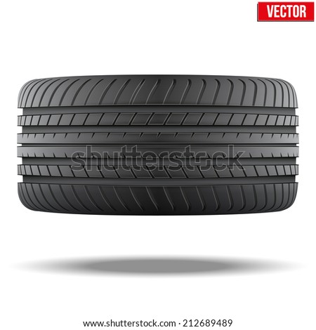 Realistic rubber tire symbol. Top view. Vector Illustration isolated on white background. - stock vector