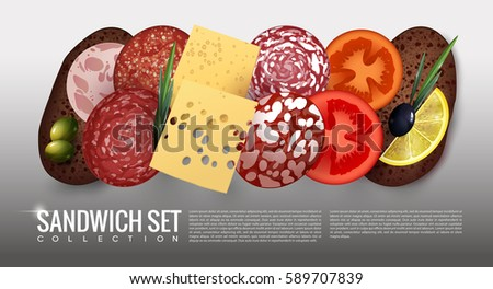 Realistic Sandwich Ingredients Set With Bread Sausage Cheese Salami Tomato Lemon Slices Black And Green Olives