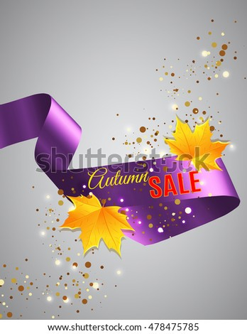 Realistic satin ribbon with Autumn SALE text and golden glitter dust