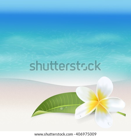 Realistic Sea Background. Tropical Flower. Beach Background. Vector
