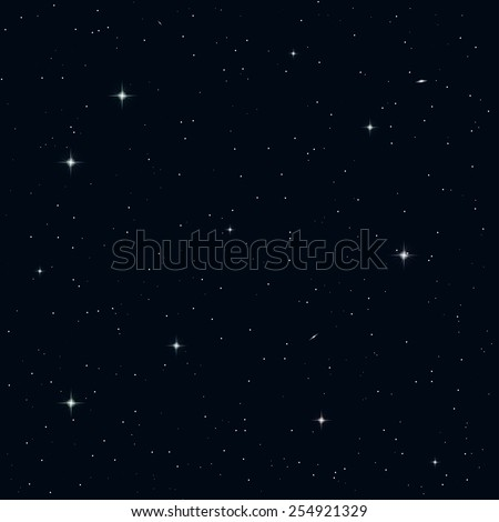 Realistic seamless vector image of the night sky with stars and galaxies. - stock vector