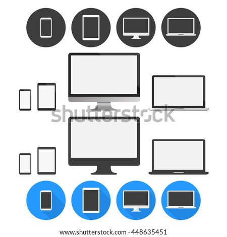 Realistic set of display, computer monitor, laptop, tablet and mobile phone. Electronic device icons template. Flat design vector UI elements illustration