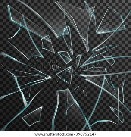 Realistic Shards Transparent Broken Glass On Stock Vector ...