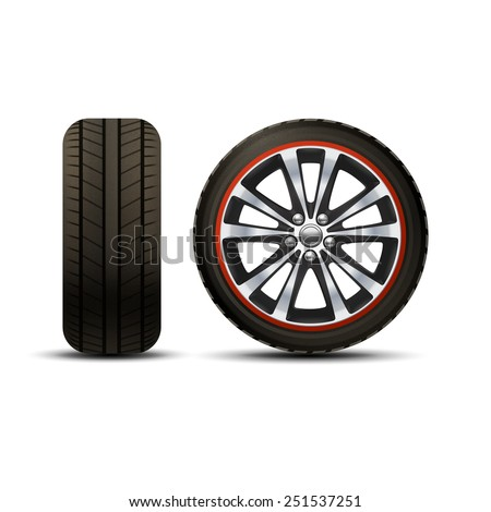 Realistic shining disk car wheel tyre set isolated vector illustration - stock vector