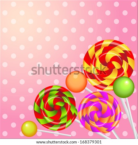 realistic shiny lollipops  background - stock vector