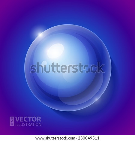 Realistic shiny transparent water drop sphere on blue background. RGB EPS 10 vector illustration. Can be placed on any background color - stock vector