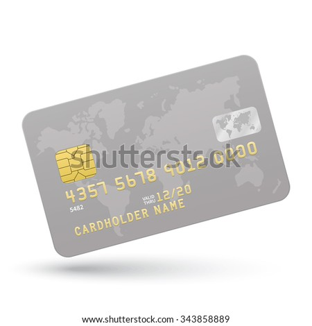 Realistic Silver Credit card isolated on white background. Vector illustration.