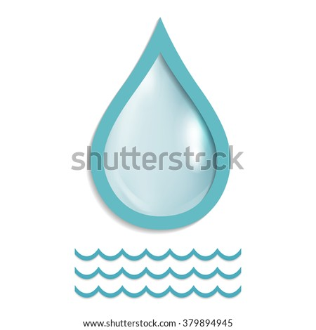Realistic single water drop isolated on white vector illustration, EPS 10 contains transparency - stock vector