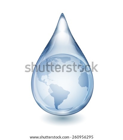 Realistic single water drop isolated on white, with globe inside, EPS 10 contains transparency - stock vector