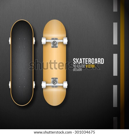 Realistic skateboard on road asphalt background in vector format - stock vector