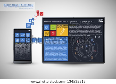 Realistic Smart Phone and pad Template - stock vector
