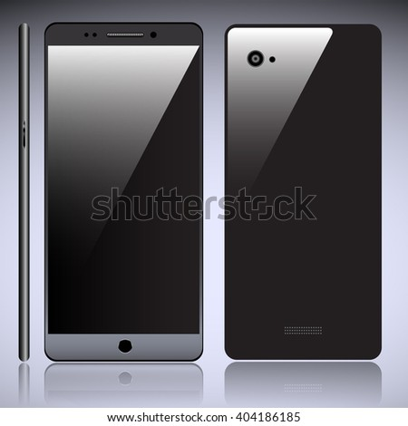 Realistic Smart Phone Front, Side and Back Vector 3D Rendering