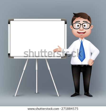 Realistic Smart Professor or Business Man Characters With Eyeglasses Presenting in Empty White Board in Long Sleeve and Necktie Isolated in White Background. Editable Vector Illustration - stock vector