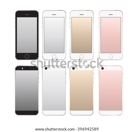 Realistic smartphone front and back set iphon style mockup. Vector illustration. for printing and web element, Game and application mockup. - stock vector