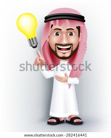 Realistic Smiling Handsome Saudi Arab Man Character in 3D Posing with Thobe Dress Pointing Hand in a Bulb Idea or Creativity. Editable Vector Illustration - stock vector