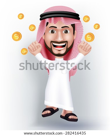 Realistic Smiling Handsome Saudi Arab Man Character in 3D with Thobe Dress Jumping for Joy with Gold Dollars Money Like he Won. Editable Vector Illustration - stock vector
