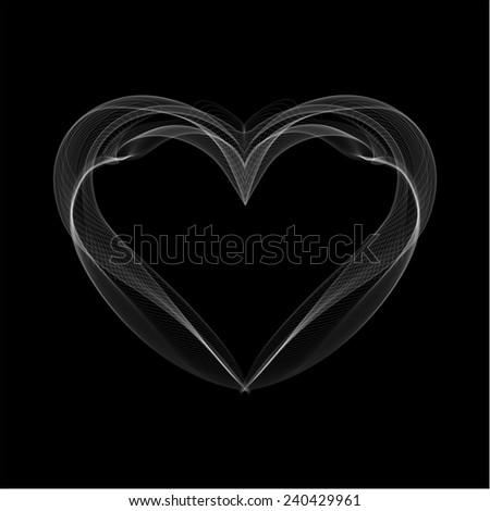 Realistic Smokey Heart Isolated on Black Vector illustration - stock vector